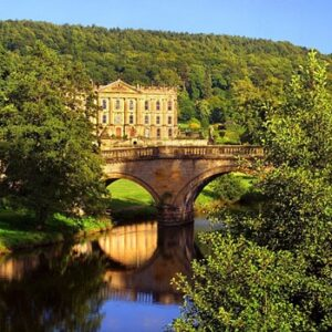 UK,Derbyshire,Peak District,Chatsworth House,Queen Mary Bower Bridge & River Derwent