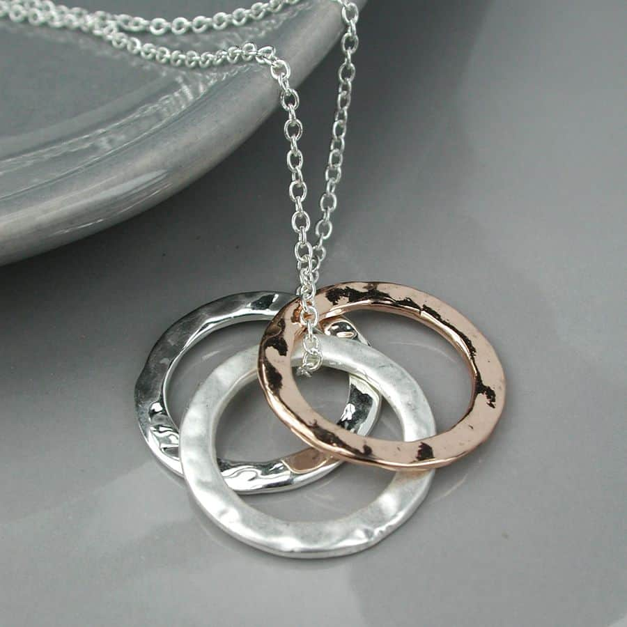 74163ae67 Gifts online UK | Silver Plated and Rose Gold Triple Circles ...
