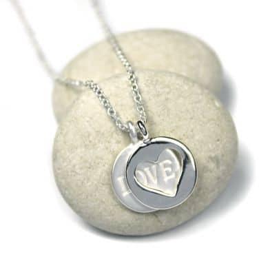 Gifts Online Uk Silver Plated Matt Love Disc Open Heart